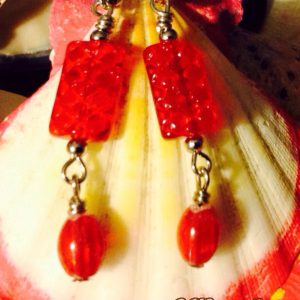 Red Glass Earrings