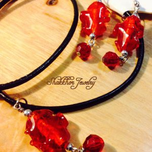 Red glass jewelry